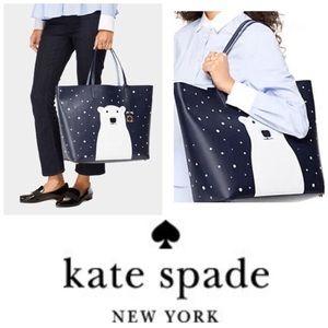 Kate Spade RARE Len Polar Bear Leather Tote